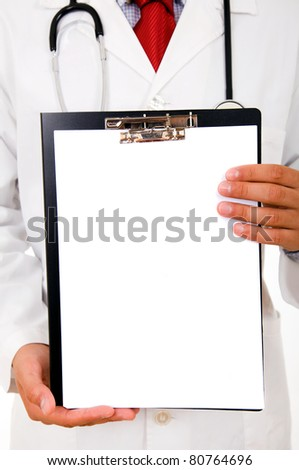 Close-up of a doctor showing blank clipboard to write it on your personal message or advice
