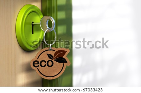 Close up of a door and a key ring where it's written the word eco, the lock is green there is a copy space on the right
