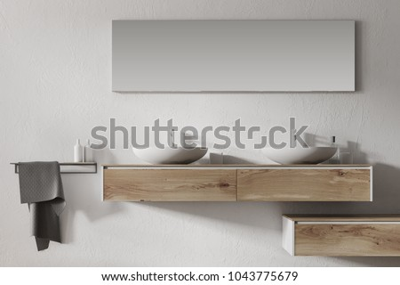 Close up of a double sink standing on a wooden shelf in a white wall bathroom. 3d rendering, mock up