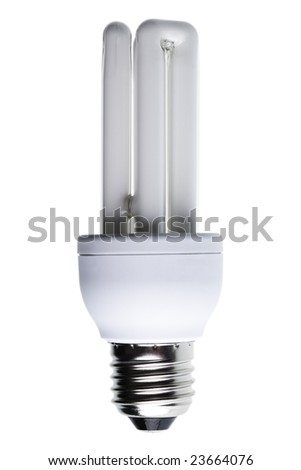 Close-up of a energy-saving light bulb isolated against white background