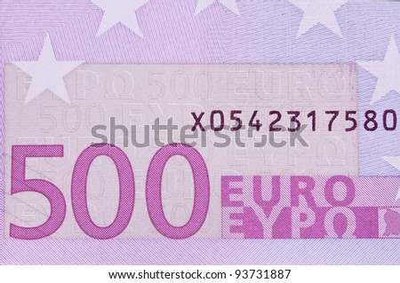 close up of a euro bank note of the european union