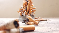 close up of a fag end cigarette filter.