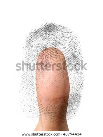 Close-up of a fingerprint and a thumb. Biometric identification, security concept. Isolated on white background
