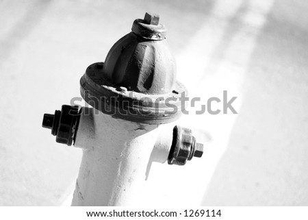 close up of a fire hydrant in black and white - stock photo