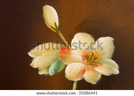 Close up of a flower painted on wooden texture