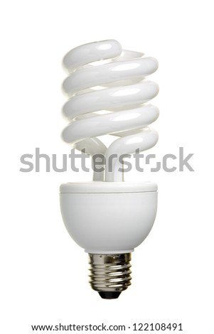 Close up of a fluorescent light bulb, isolated on white background