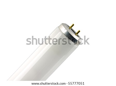 close up of a fluorescent tube on a white background