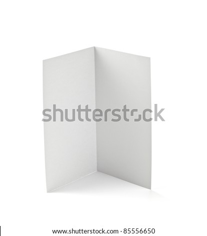 close up of  a folded card on white background  with clipping path