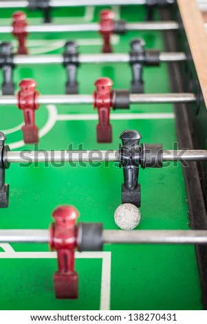 Close up of a foosball game with soccer ball.
