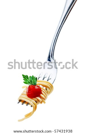 Close-up of a fork with fresh spaghetti isolated over white background.