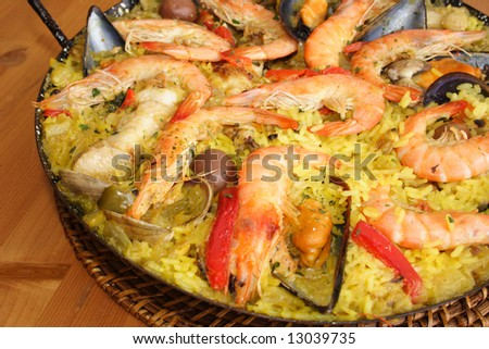 Close up of a fresh made paella from Valencia