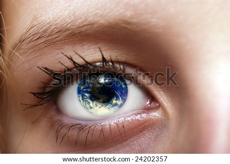 Close Up Of A Girl Eye With Planet Earth Into The Pupil, Ecology ...