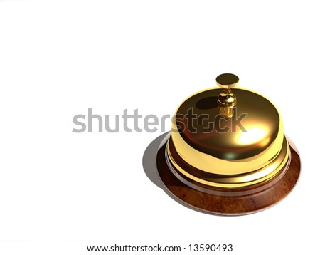Close up of a golden bell on white background - rendered in 3d