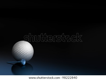 Close up of a golf ball over a black and blue background, the golfball is located at the bottom left of the image, there is room for text and reflection