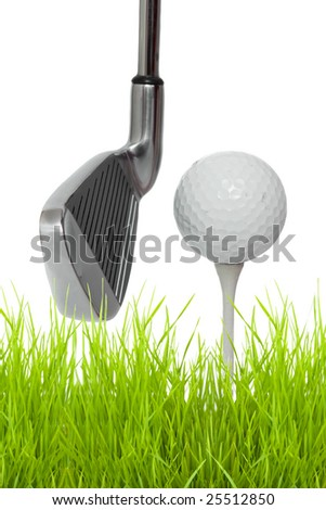 close up of a golf club with ball and tee isolated against white background