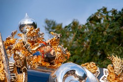 Close-up of a gorgeous mikoshi at the Japanese Autumn Festival
