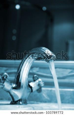 Close-up of a granite sink.