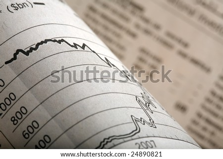 Close-up of a graph section of a financial newspaper