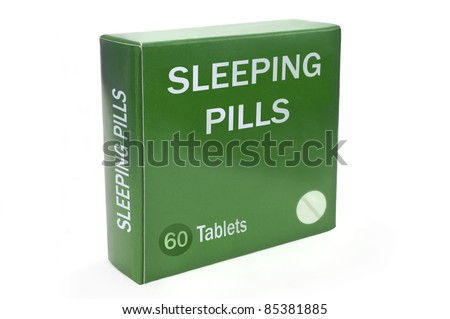 """Close up of a green box with the words """"SLEEPING PILLS"""" arranged over white."""