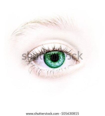 Close up of a green eye, natural no make-up
