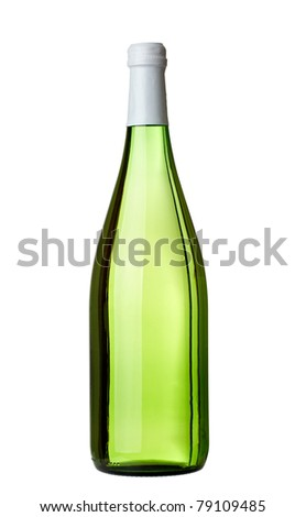close up of  a green wine bottle on white background with clipping path