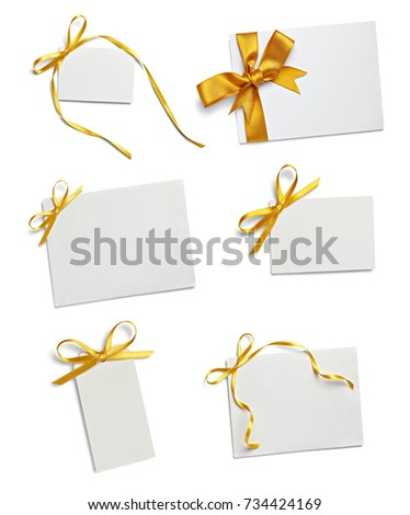 close up of a greeting card note with  ribbon on white background