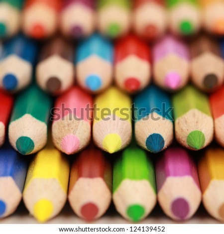 Close-up of a group of colored pencils with copyspace