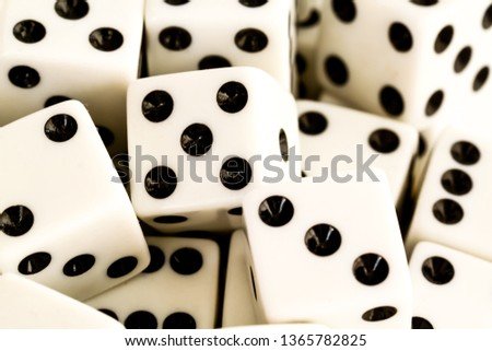Close up of a group of white dice. A risk, luck and chance concept. #1365782825