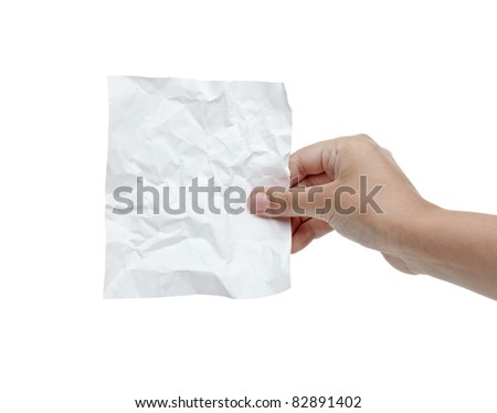 close up of a hand holding blank crumpled note on white background with clipping path