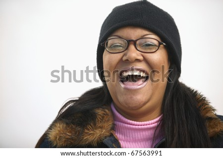 Close up of a happy woman - stock photo
