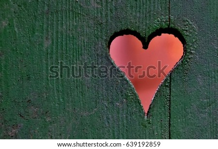 Close up of a heart in a wooden fence #639192859