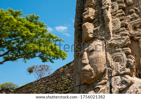 Close-up of a historic stela, ancient Mayan city of Tonina, Mexico. Foto d'archivio ©