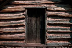 Close up of a historical cabin at Valley Forge National Park in Pennsylvania.