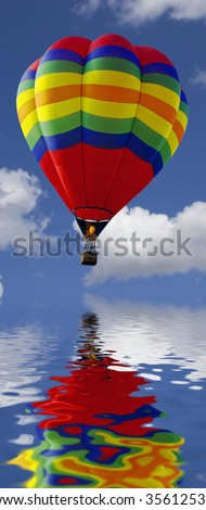 close up of a hot air balloon flying above water