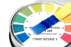 close-up of a indicator paper with alkaline testing