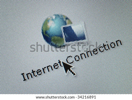 Close-up of a interface computer button for intenet connection and an arrow cursor