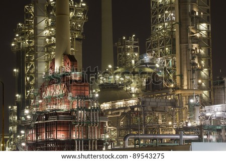 Close-up of a large oil-refinery plant