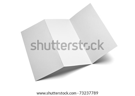 close up of a leaflet blank white paper on white background with clipping path