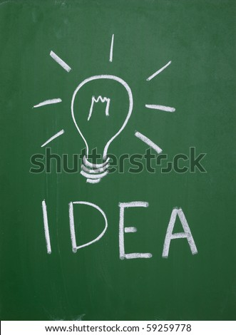 close up of a light bulb drawing on blackboard