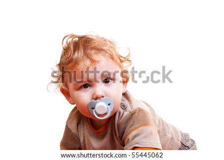 close-up of a little blond baby boy on white background