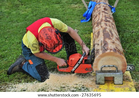 Close up of a logger using a chainsaw in a logging competition. Sawdust flying.