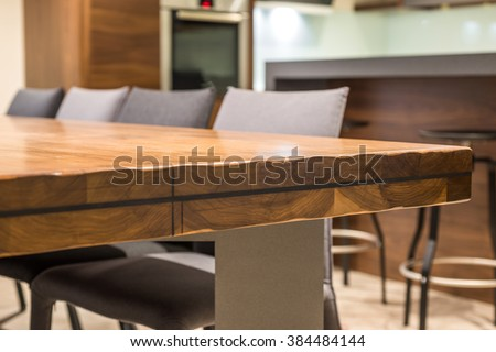 Close-up of a luxurious table corner , vintage solid wood furniture detail #384484144