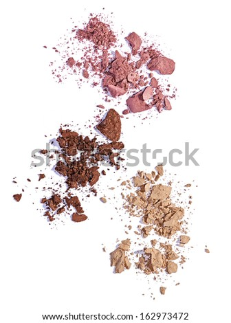 close up of  a make up powder and a brush on white background #162973472