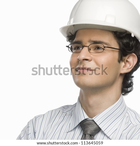 Close-up of a male architect smiling