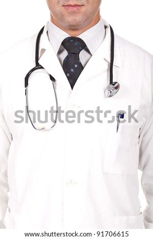close up of a male doctor with a stethoscope on his neck