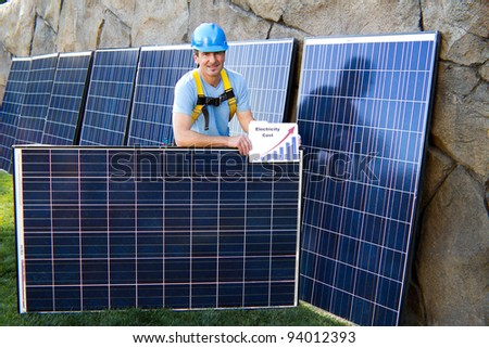 Close up of a Man in his forties overseeing a Solar Installation with Solar Panels behind him