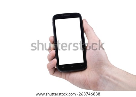 Close up of a man using mobile smartphone  #263746838