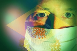 Close up of a man wearing a mask with virus cells and a Brazilian flag as background. Concept of Coronavirus in Brazil .