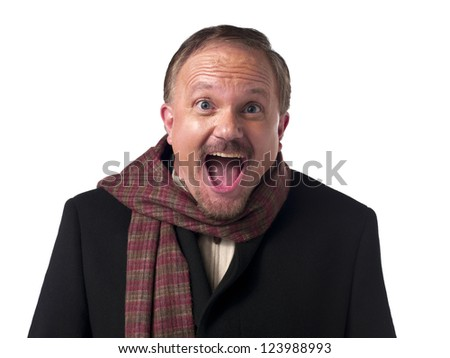 Close-up of a mature businessman with mouth open over white background