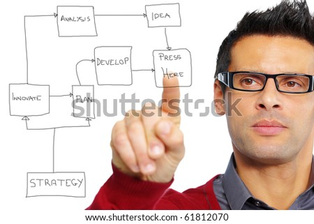 stock photo : close up of a mature man pointing or pressing a button. Ideal